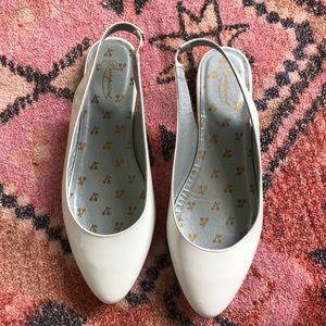 Bonpoint Patent Leather Almond Toe Slingback Flats